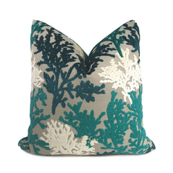 Lahaina Teal Green Cream Beige Coral Reef Cut Velvet Pillow Cover Cushion Pillow Case Euro Sham 16x16 18x18 20x20 22x22 24x24 26x26 28x28 Lumbar Pillow 12x18 12x20 12x24 14x20 16x26 by Aloriam