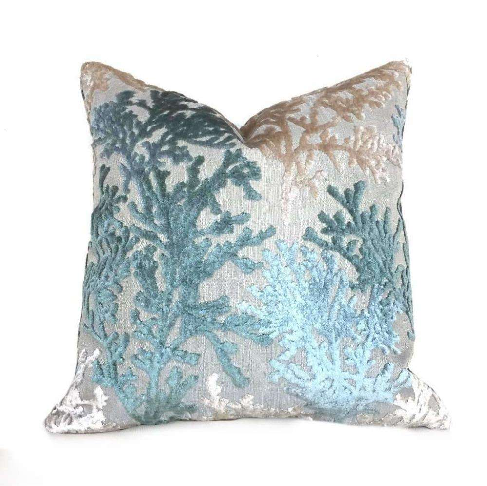 Coral Reef Cut Velvet Lagoon Green Beige Pillow Cover by Aloriam