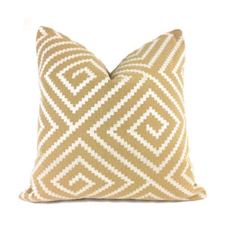 Embroidered Pearl White on Tan Greek Key Maze Pillow Cover