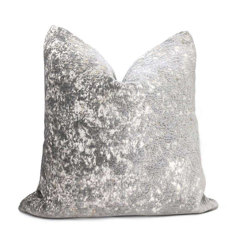 Ainsley Dove Gray Silver Patina Abstract Texture Pillow Cover