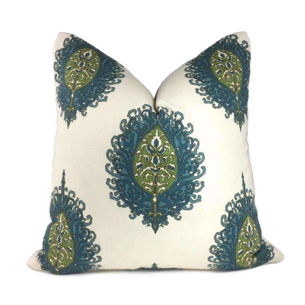 Alfred Shaheen Westminster Blue Green Cream Paisley Medallion Pillow Cover 22x22