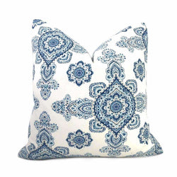 Alyssa Blue White Taupe Paisley Medallion Pillow Cover Cushion Pillow Case Euro Sham 16x16 18x18 20x20 22x22 24x24 26x26 28x28 Lumbar Pillow 12x18 12x20 12x24 14x20 16x26 by Aloriam