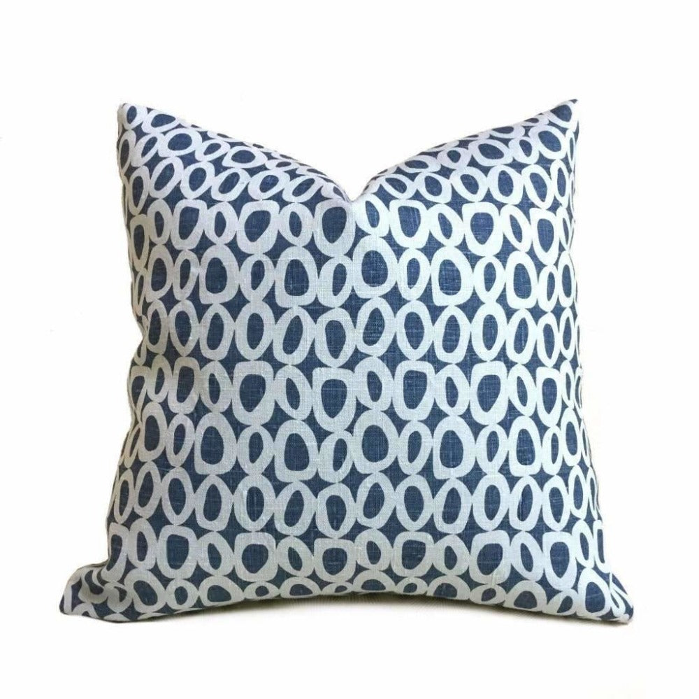 "Chambray Denim Blue Abstact ""O"" Geometric Dots Linen Pillow Cover, Fits Lumbar 16"" 18"" 20"" 22"" 24"" Cushion Inserts"