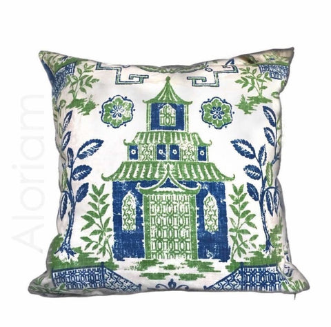 Chinoiserie Asian Oriental Teahouse Green Blue Ivory Pillow Cover by Aloriam