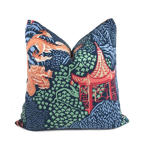 Qingdao Asian Chinoiserie Print Pillow Cover Cushion Pillow Case Euro Sham 16x16 18x18 20x20 22x22 24x24 26x26 28x28 Lumbar Pillow 12x18 12x20 12x24 14x20 16x26 by Aloriam