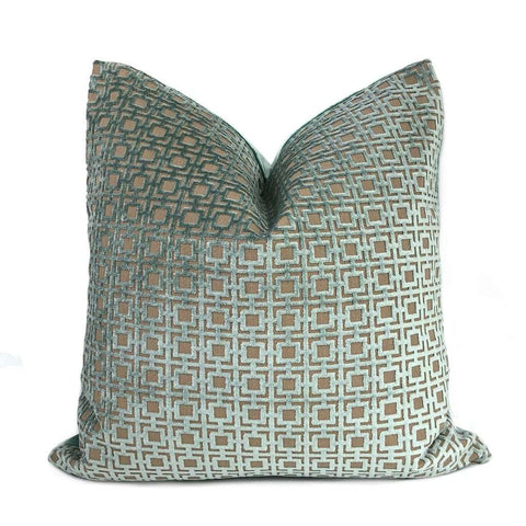Quattro Mineral Blue-Green Geometric Square Lattice Cut Velvet Pillow Cover