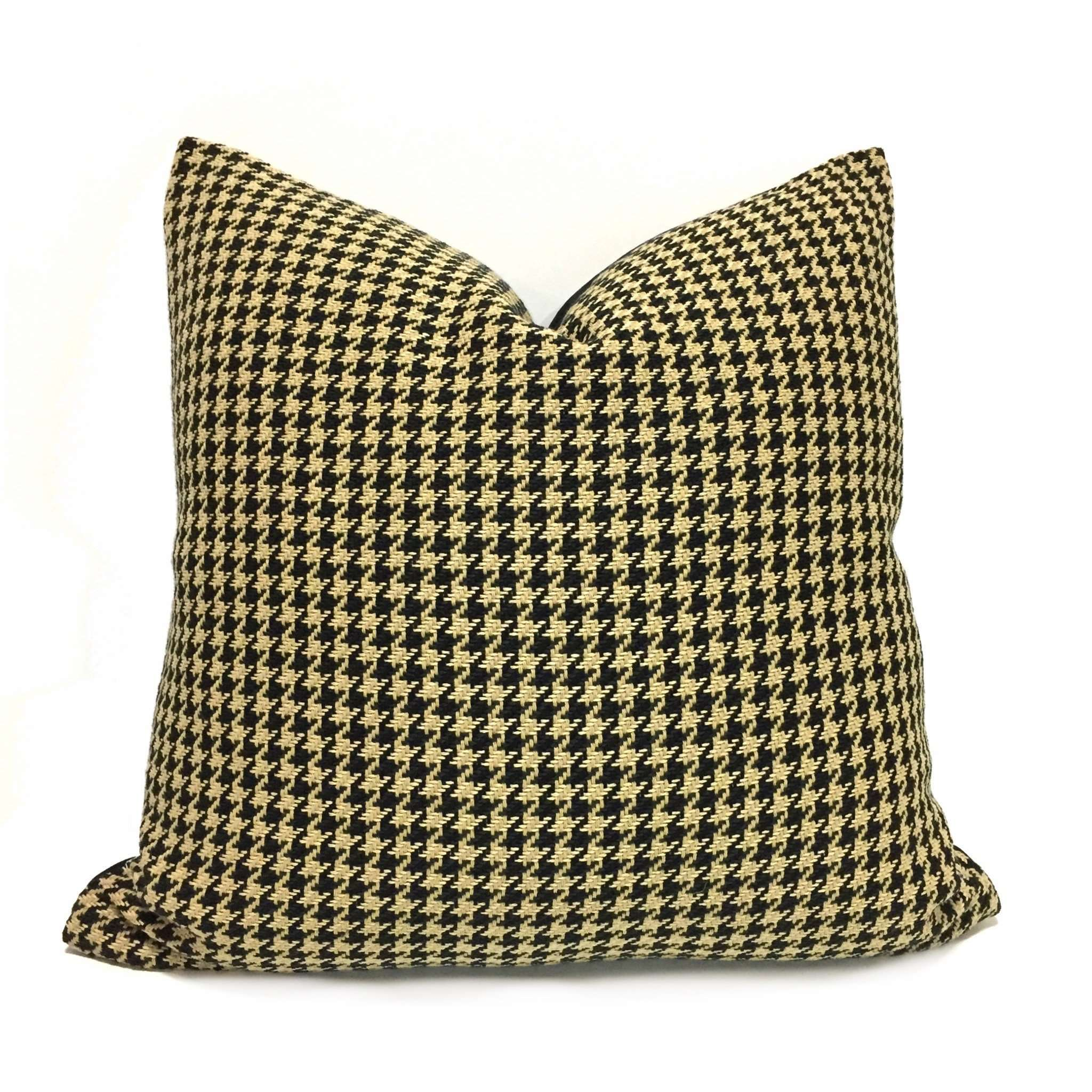 Ralph Lauren Cambrook Ebony Black Tan Houndstooth Pattern Pillow Cover by Aloriam