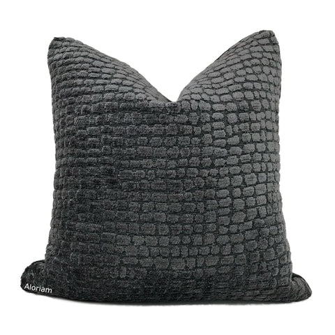 Ramsey Charcoal Gray Pebble Texture Chenille Pillow Cover - Aloriam