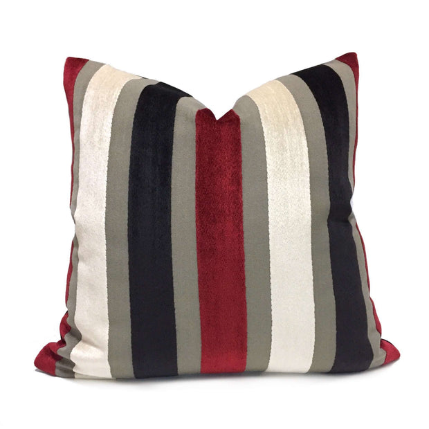 Red Cream Gray Black Velvet Stripe Pillow Cover