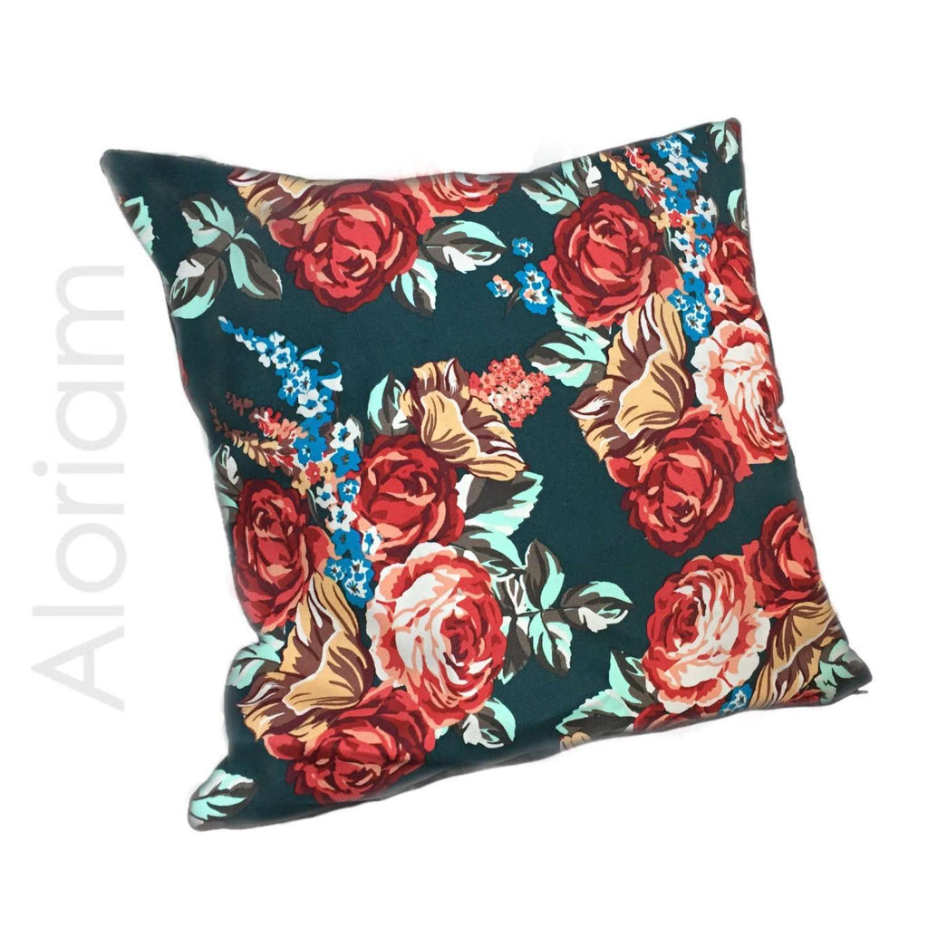 Red Roses Dark Green Floral Flower Pattern Pillow Cushion Cover Aloriam