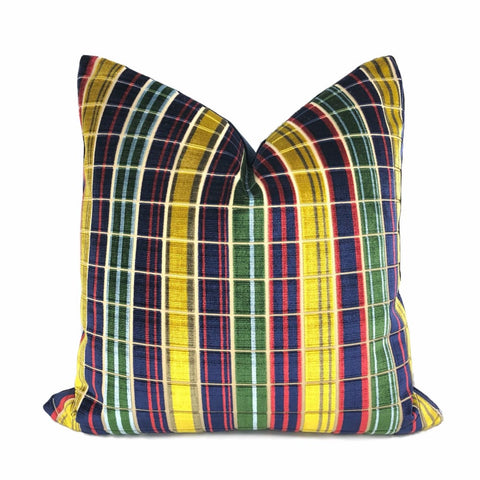Regents Park Navy Blue Red Gold Plaid Silk Velvet Pillow Cover (Lee Jofa fabric) - Aloriam