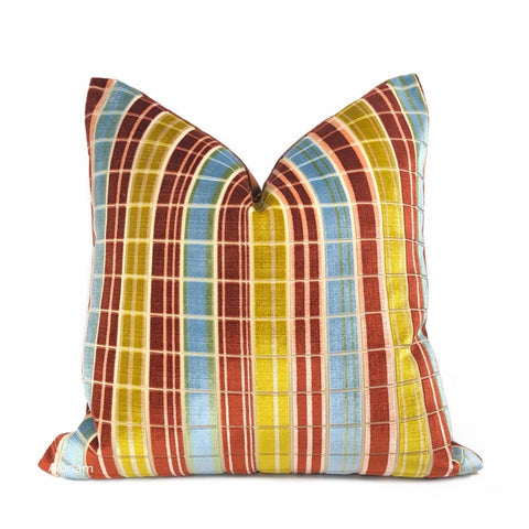Regents Park Rust Blue Gold Plaid Silk Velvet Pillow Cover (Lee Jofa fabric) - Aloriam
