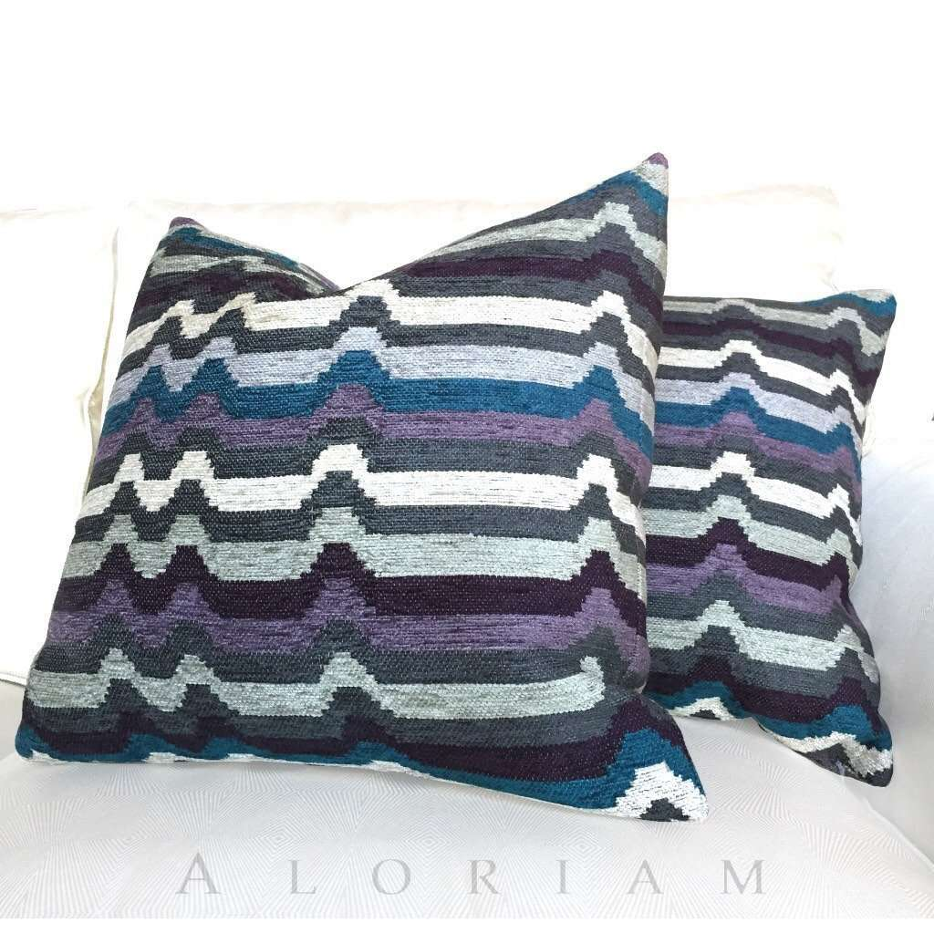Retro Mod Gray Purple Blue Stripe Designer Chenille Pillow Cushion Zipper Cover