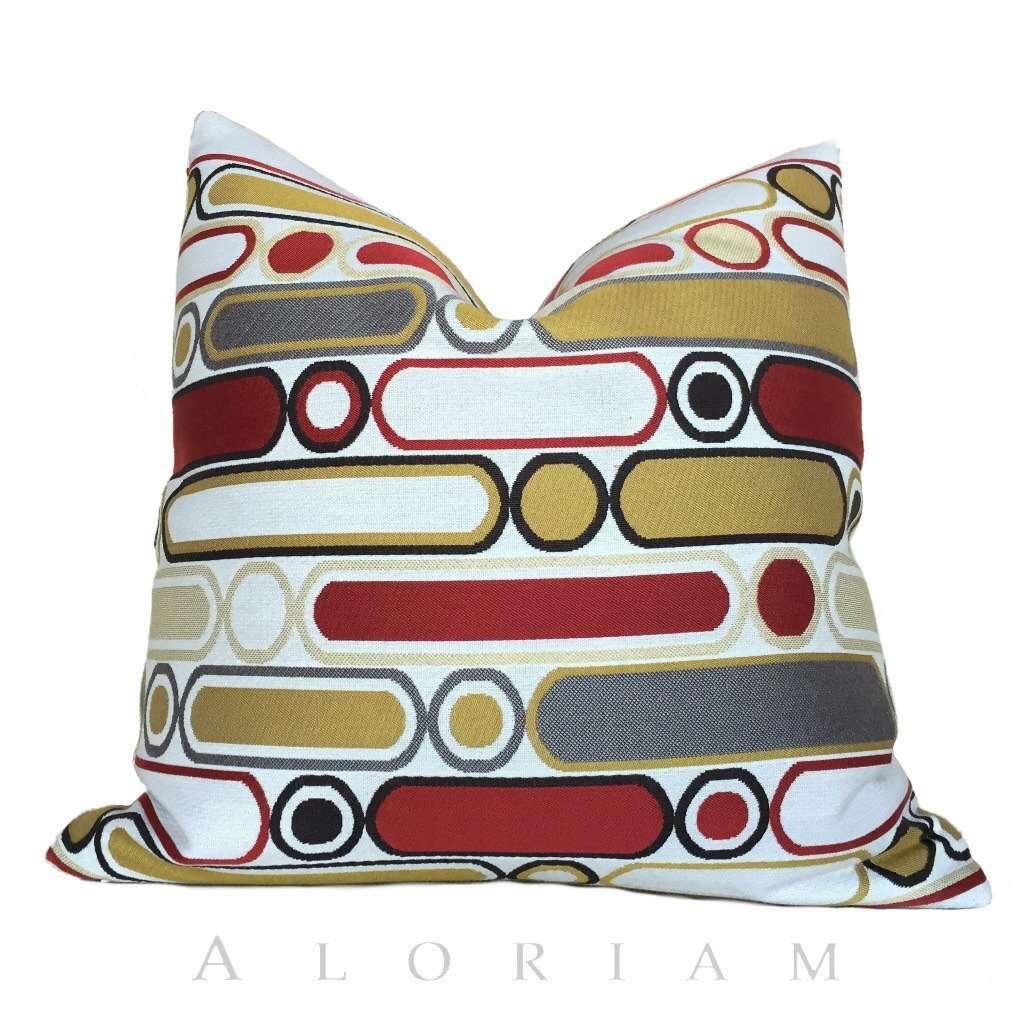 Retro Mod Ovals Geometric Red Yellow Gray Pillow Cushion Cover