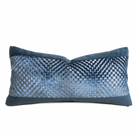 Reva Ocean Blue Geometric Cut Velvet Panel Lumbar Pillow Cover (Cowtan & Tout fabric) - Fits 12x24 insert (Last one!) - Aloriam