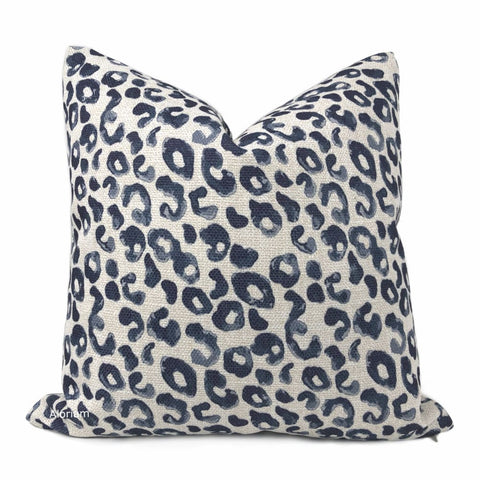 Rex Navy Blue Leopard Print Pillow Cover - Aloriam