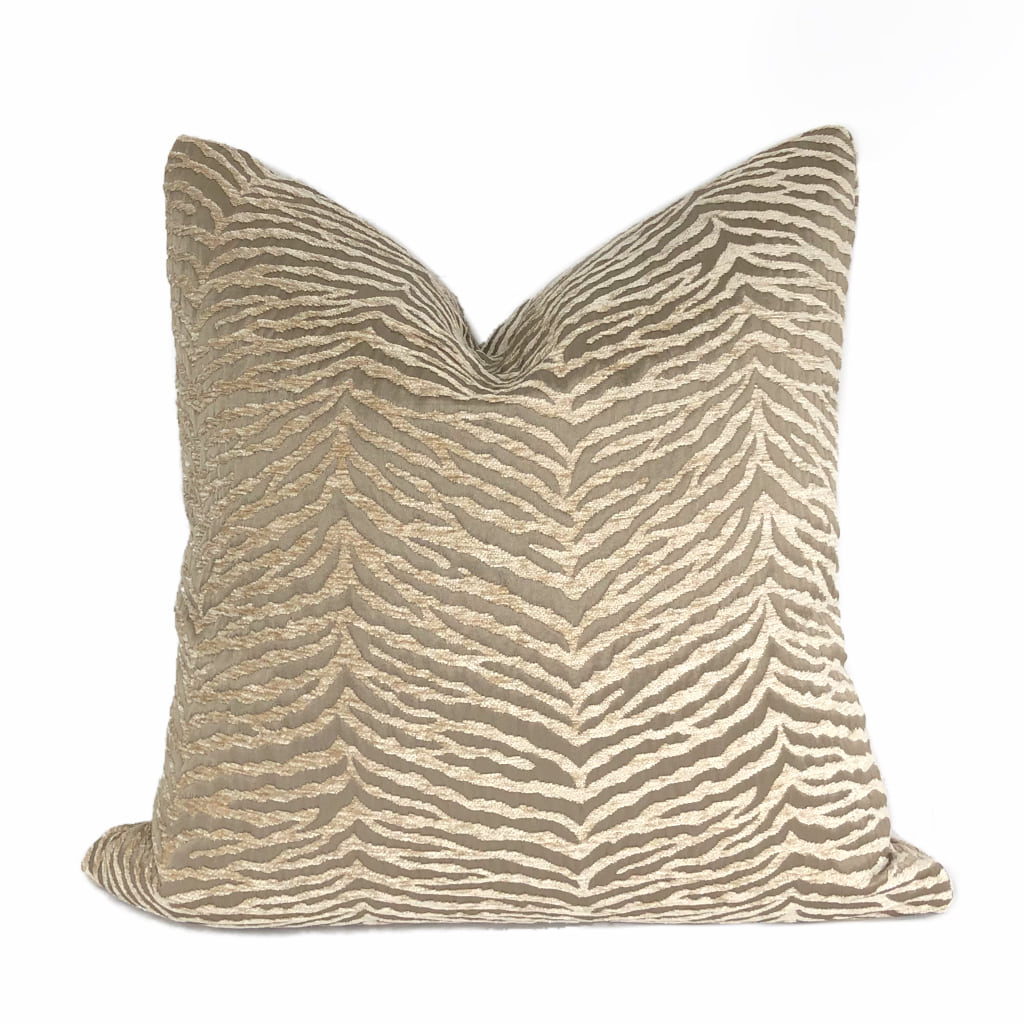 Rhea Two Tone Cafe au Lait Animal Stripe Chenille Pillow Cover