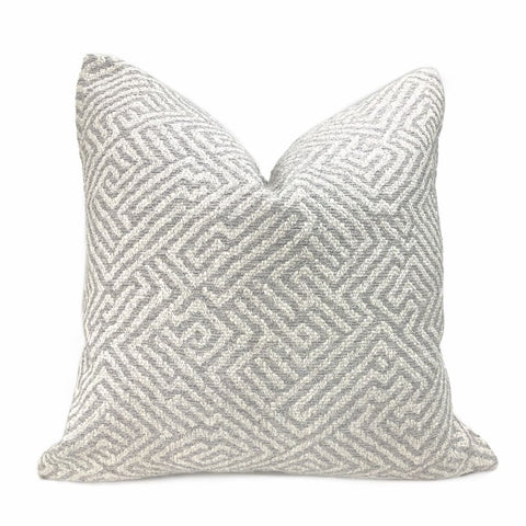 Rhodes Gray Greek Maze Pillow Cover - Aloriam