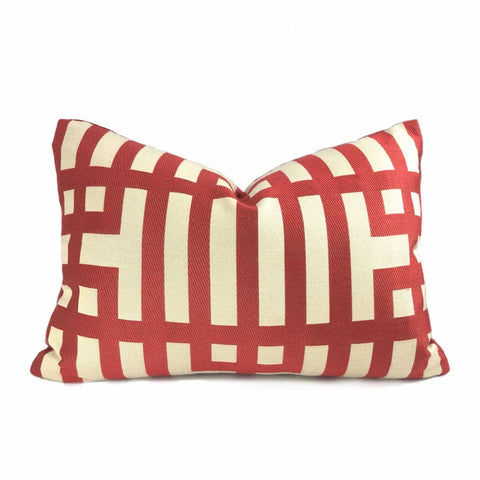 Rialto Red Beige Geometric Lattice Pillow Cover - Aloriam
