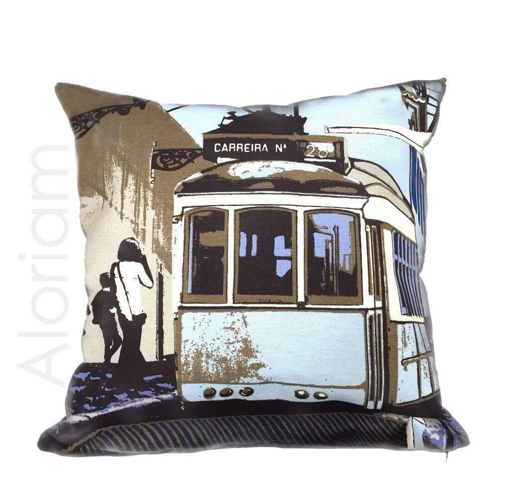 Riina Kuikka European Urban Street Scene Blue White Pillow Cushion Cover