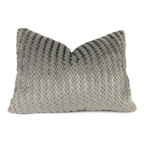 Gray & Metallic Silver Two Tone Squiggle Stripe Velvet Pillow Cover Pillow Sham