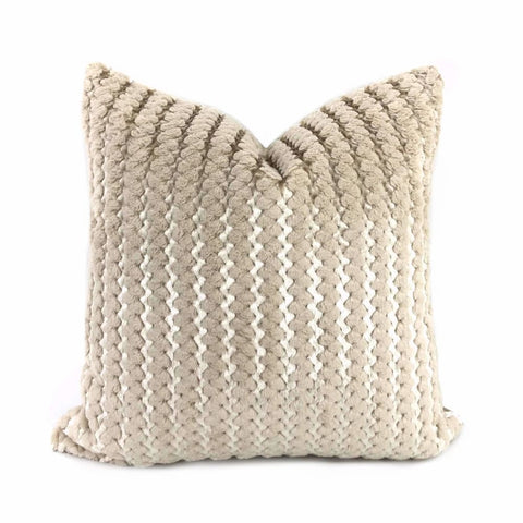 Ripley Oatmeal & Metallic Silver Two Tone Squiggle Stripe Velvet Pillow Cover - Aloriam