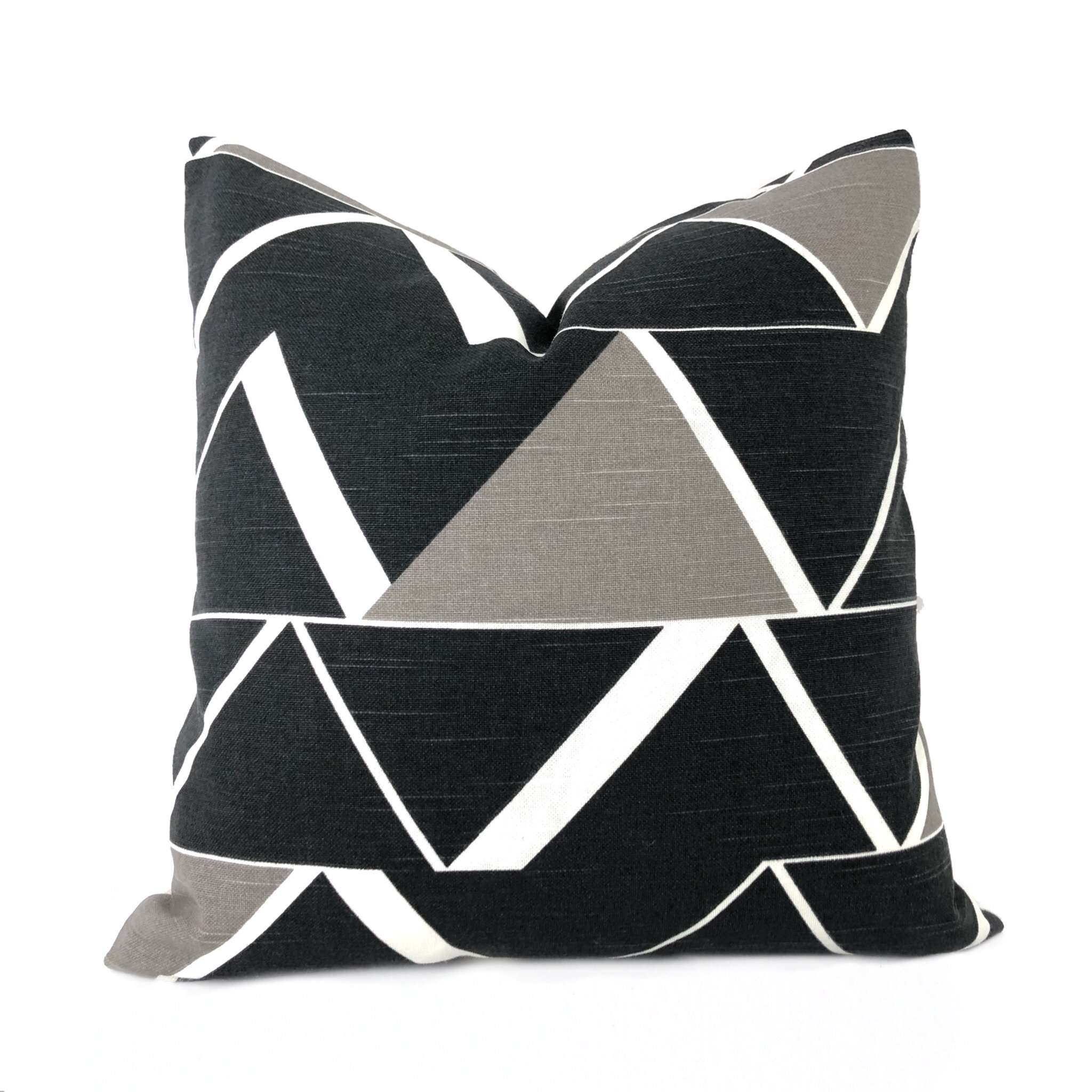 Riverton Modern Geometric Charcoal Gray White Taupe Pillow Cover