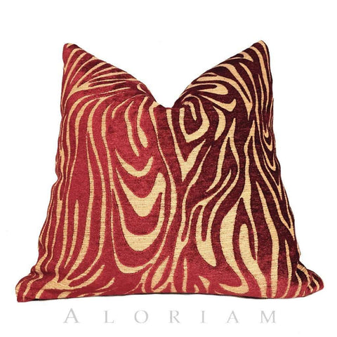 Robert Allen Abstract Faux Bois Tiger Stripe Rust Red Camel Beige Pillow Cushion Cover