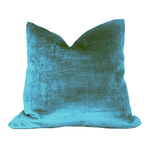 Aegean Blue Velvet Pillow Cushion Cover