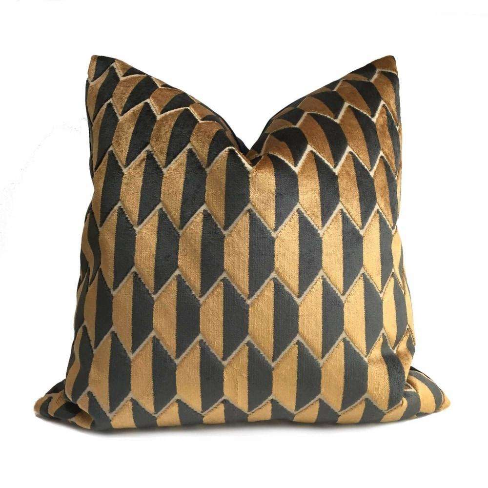Robert Allen Alessio Copper Black Geometric Velvet Pillow Cover by Aloriam