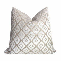 Robert Allen Audix Glacier Beige White Diamond Velvet Pillow Cover Cushion Pillow Case Euro Sham 16x16 18x18 20x20 22x22 24x24 26x26 28x28 Lumbar Pillow 12x18 12x20 12x24 14x20 16x26 by Aloriam