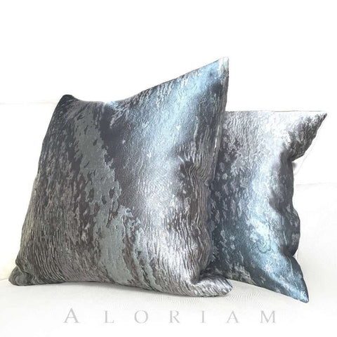 Robert Allen Beacon Hill Gray Textile Art Provocation Silk  Pillow Cushion Cover