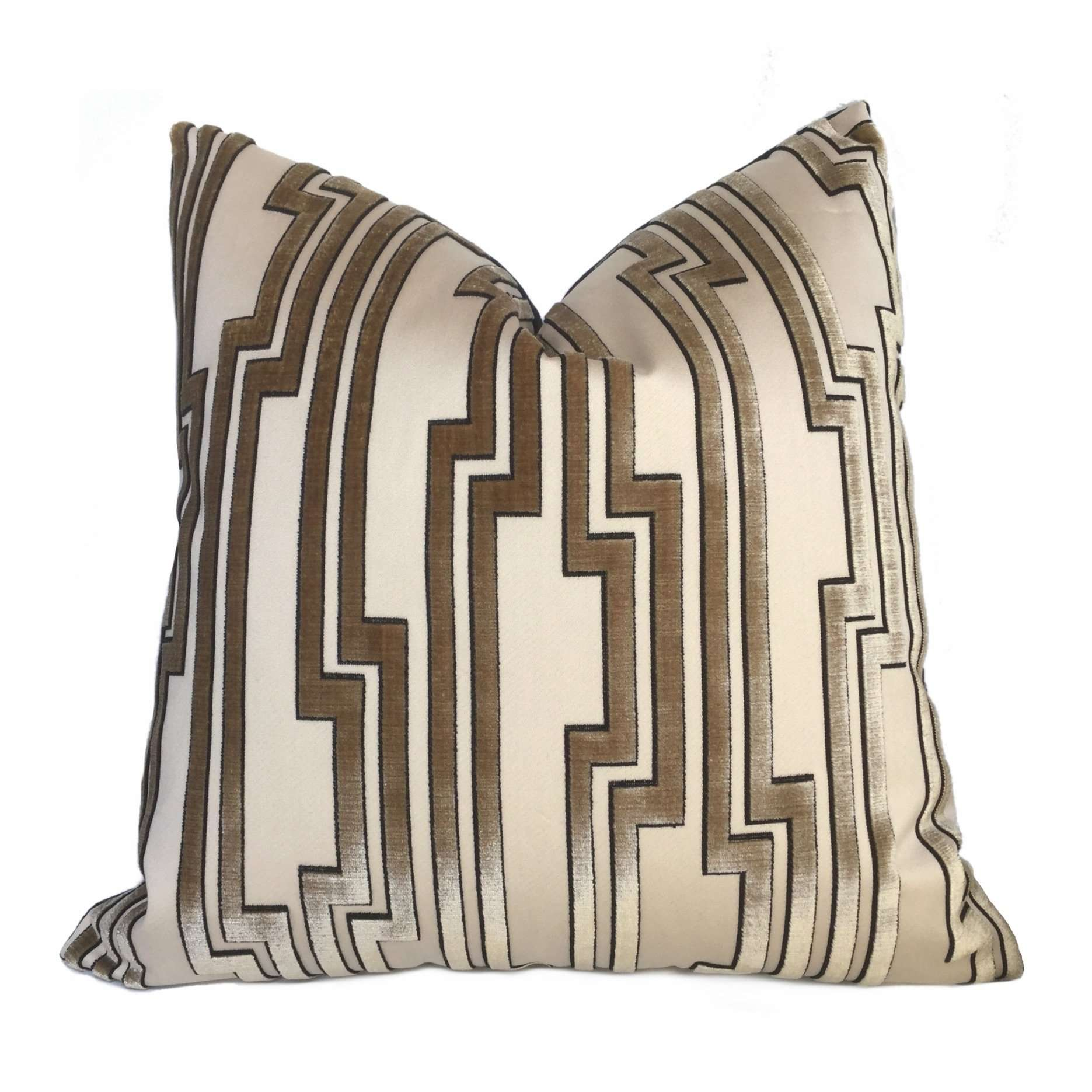 Beacon Hill Greek Key Maze Gold Coin Cut Silk Velvet Pillow Cover
