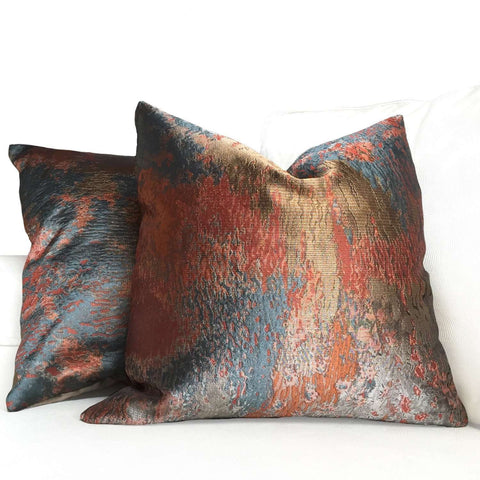 Robert Allen Beacon Hill Orange Bronze Gray Textile Art Provocation Silk Pillow