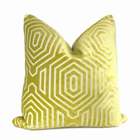 Robert Allen Beacon Hill Primo Chartreuse Contoured Velvet Pillow Cover - Aloriam