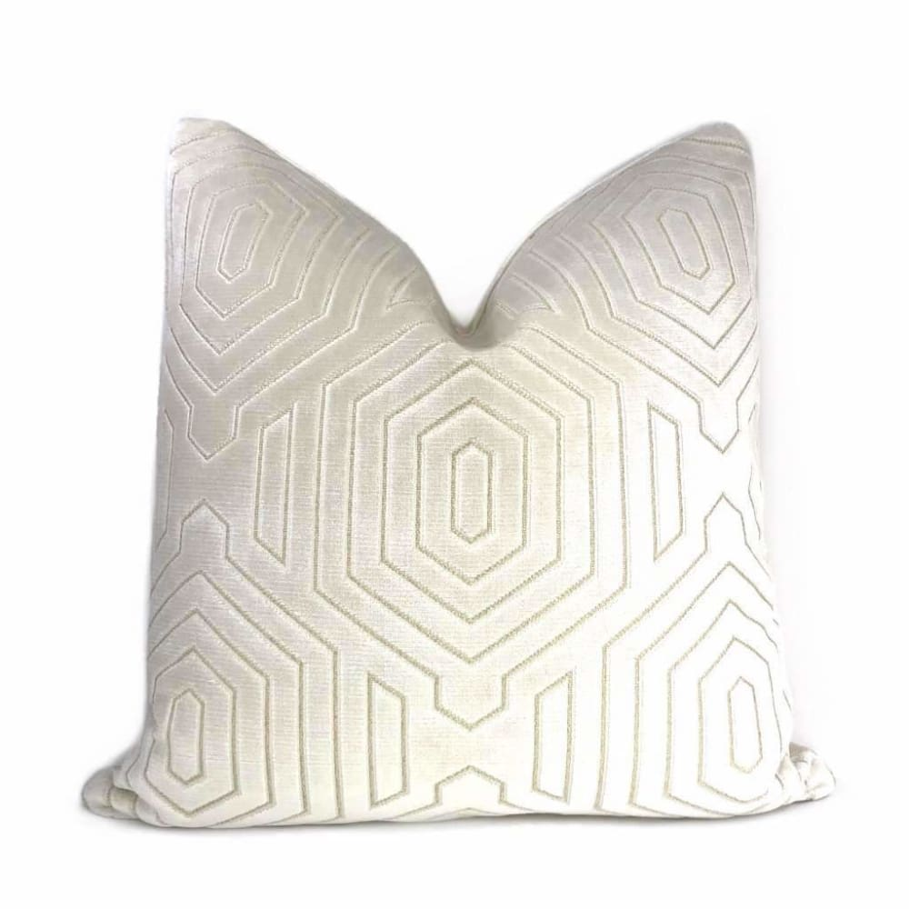 Robert Allen Beacon Hill Primo Cream Contoured Velvet Pillow Cover - Aloriam