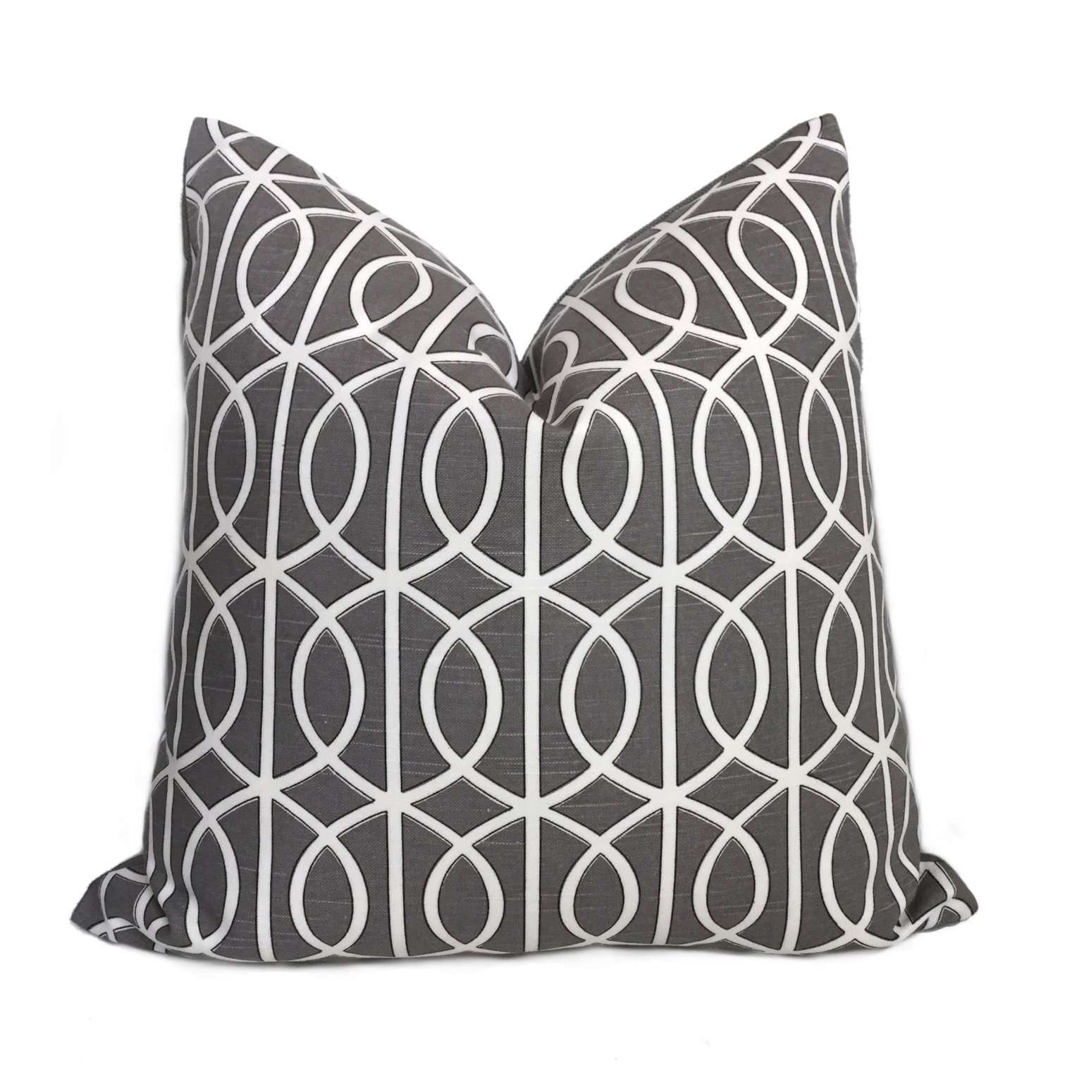 Robert Allen Bella Porte Charcoal Gray White Geometric Lattice Fretwork Pillow Cover
