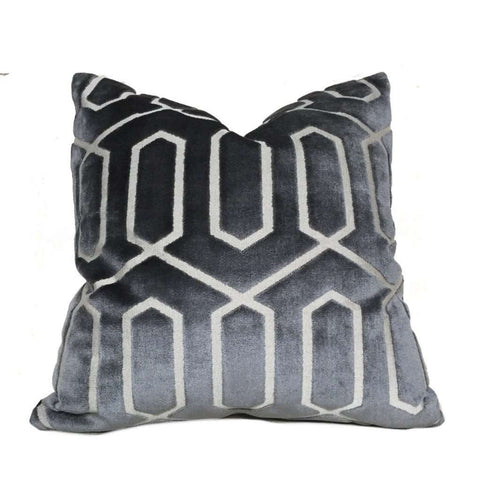 Robert Allen Bengal Lattice Charcoal Gray Geometric Italian Cut Velvet Pillow Cover