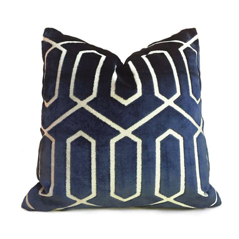 Robert Allen Bengal Lattice Geometric Navy Blue Italian Cut Velvet Pillow Cover