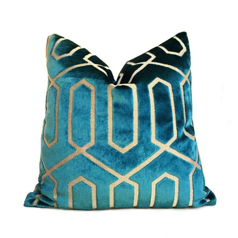 Robert Allen Bengal Lattice Peacock Teal Green Geometric Italian Cut Velvet Pillow Cover Cushion Pillow Case Euro Sham 16x16 18x18 20x20 22x22 24x24 26x26 28x28 Lumbar Pillow 12x18 12x20 12x24 14x20 16x26 by Aloriam