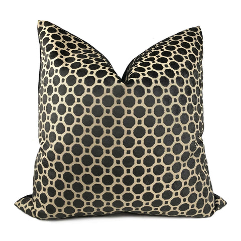 Robert Allen Velvet Geo Black Geometric Tile Pillow Cover 26x26