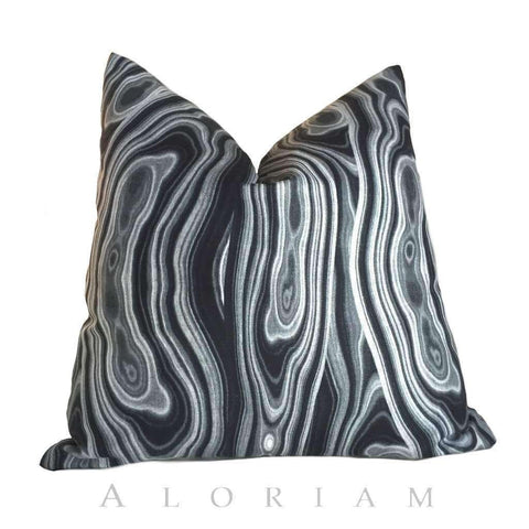 Robert Allen Malakos Abstract Geology Black Gray Pillow Cushion by Aloriam