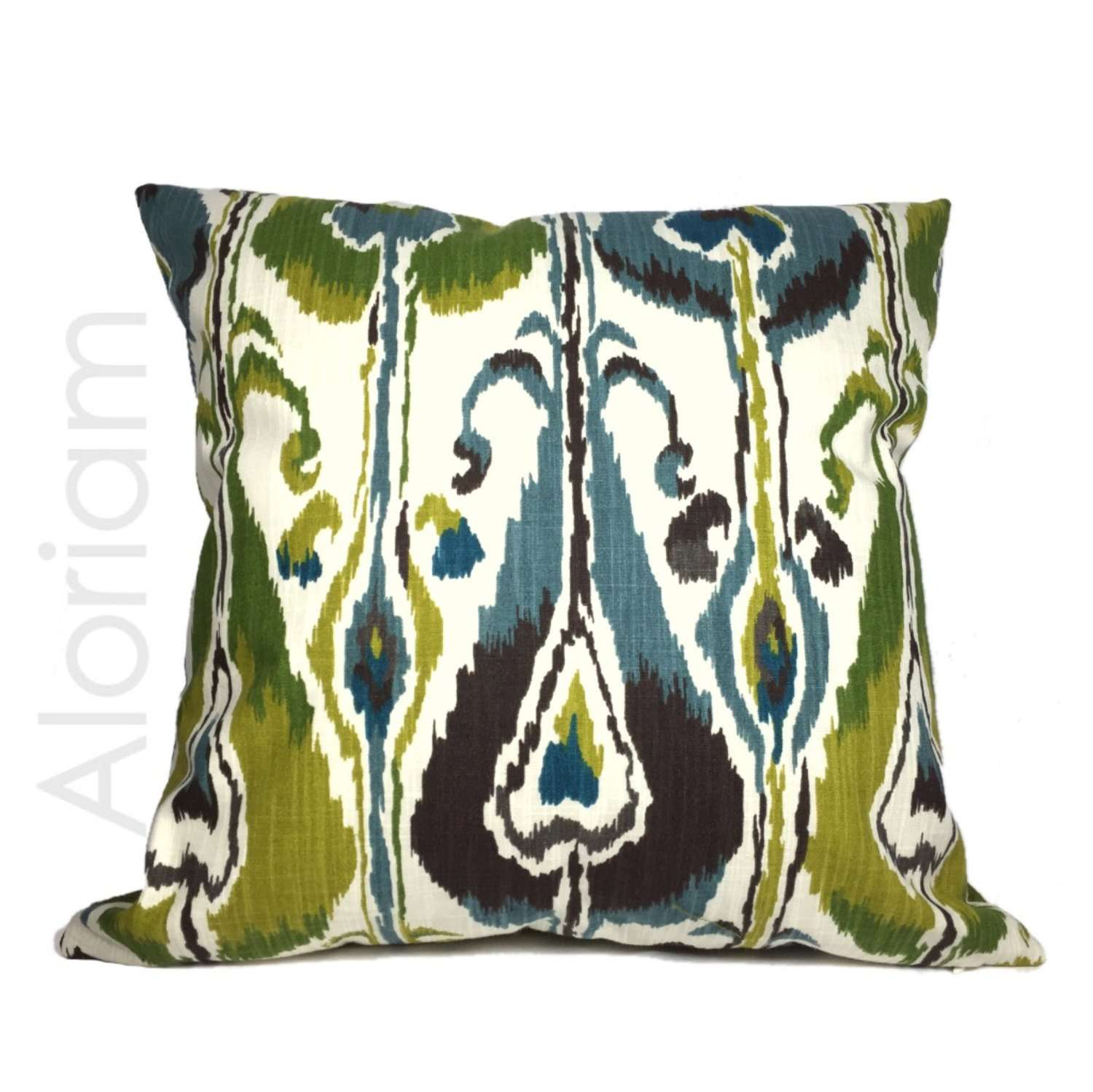 Robert Allen Blue Green Ivory Ikat Bands Pillow Cushion Cover