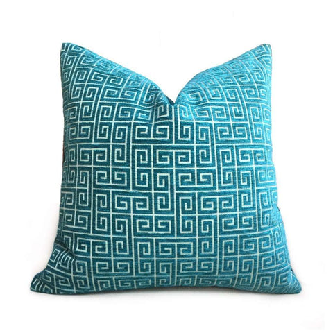 Robert Allen Bright Turquoise Teal Green Textured Greek Key Pillow Cover