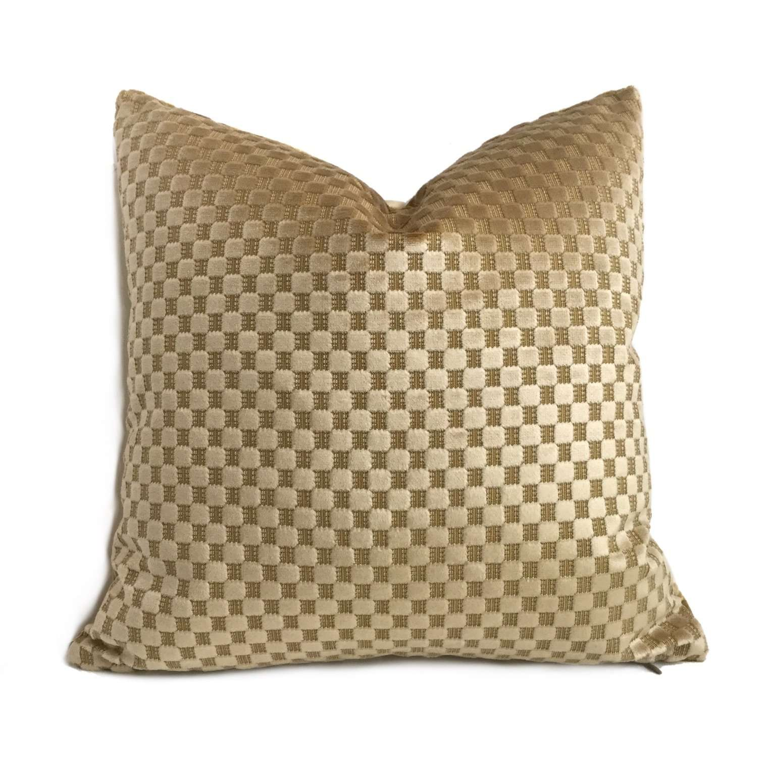Robert Allen Camel Beige Checks Box Cut Velvet Pillow Cover Cushion Pillow Case Euro Sham 16x16 18x18 20x20 22x22 24x24 26x26 28x28 Lumbar Pillow 12x18 12x20 12x24 14x20 16x26 by Aloriam