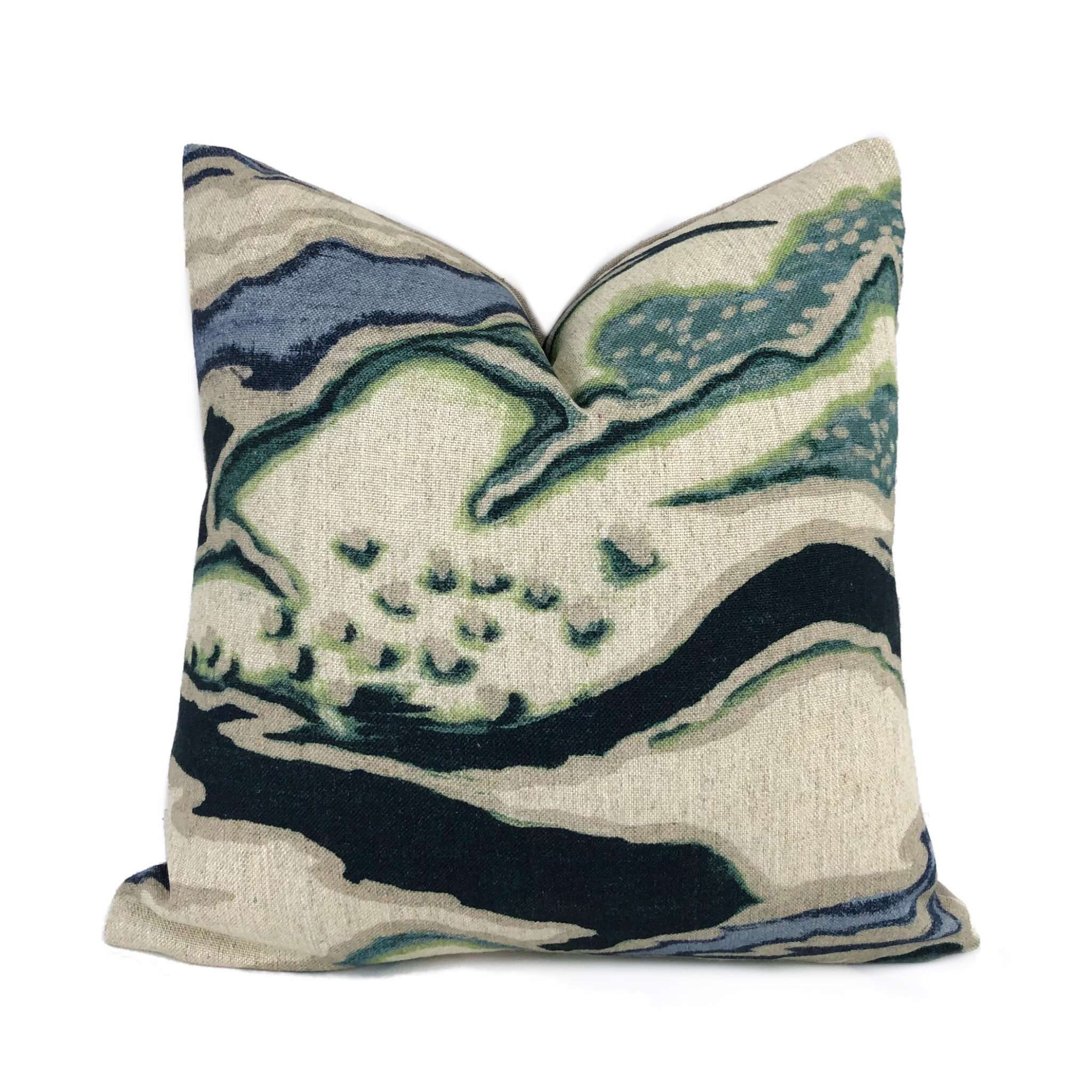 Robert Allen Chattingham Batik Blue Abstract Pictorial Pillow Cover Cushion Pillow Case Euro Sham 16x16 18x18 20x20 22x22 24x24 26x26 28x28 Lumbar Pillow 12x18 12x20 12x24 14x20 16x26 by Aloriam