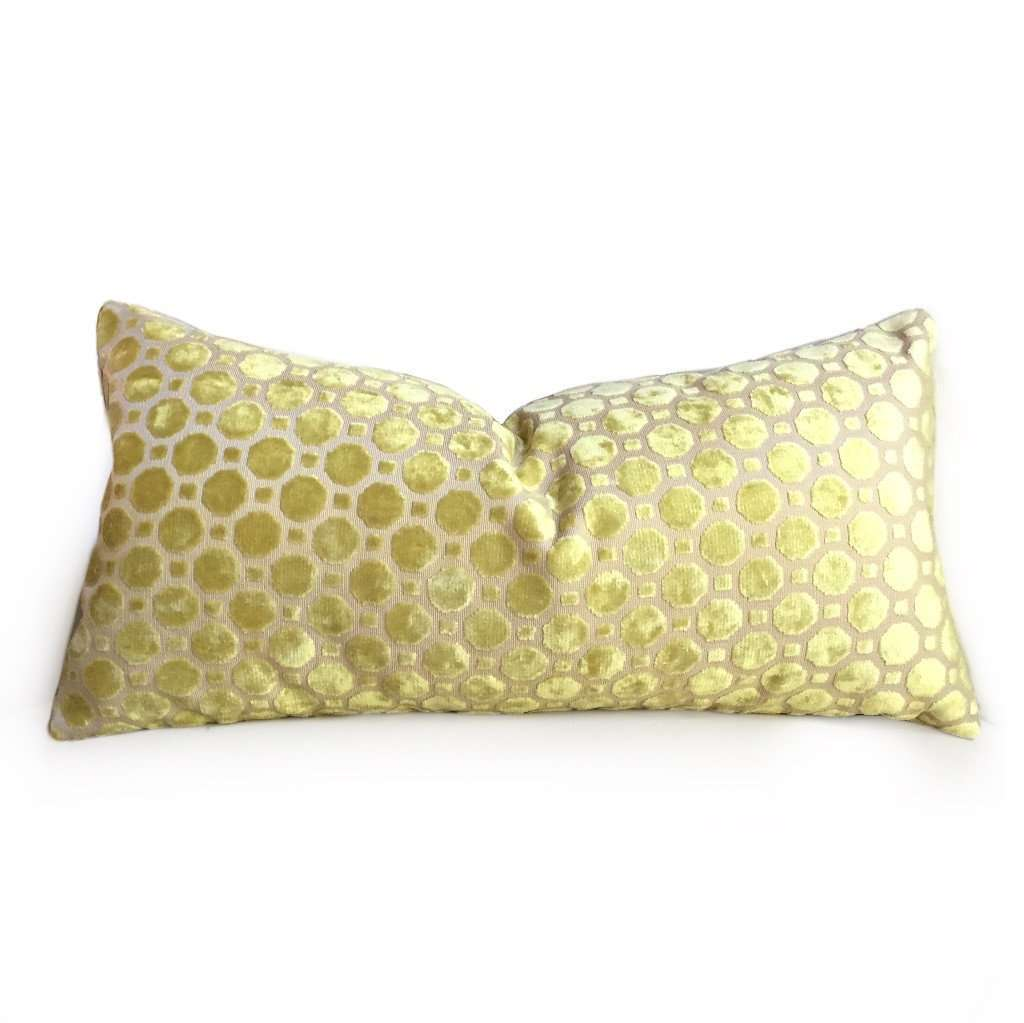 Robert Allen Citrine Yellow Cut Velvet Geo Geometric Pillow Cover by Aloriam