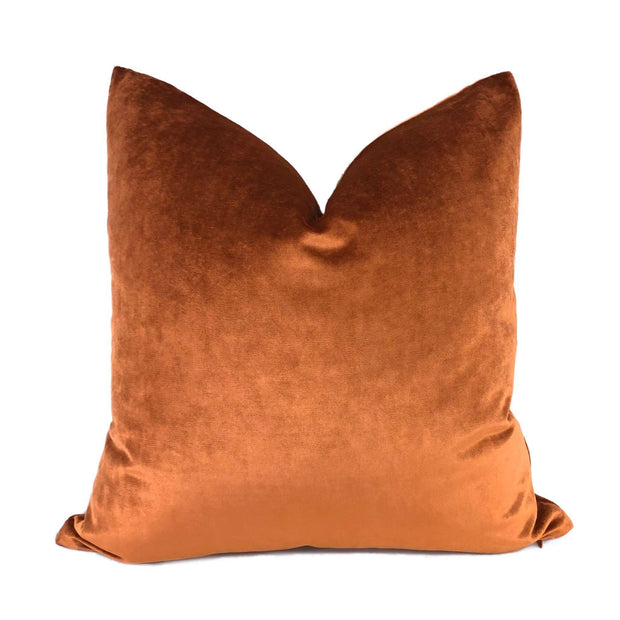 Robert Allen Copper Penny Radiant Italian Rayon Velvet Pillow Cover Cushion Pillow Case Euro Sham 16x16 18x18 20x20 22x22 24x24 26x26 28x28 Lumbar Pillow 12x18 12x20 12x24 14x20 16x26 by Aloriam