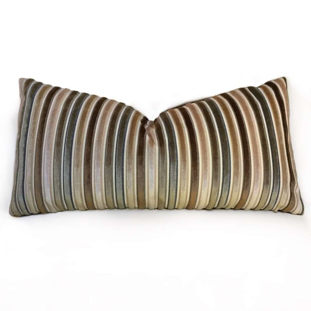 Robert Allen Cut Velvet Stripe Beige Green Brown Pillow Cover by Aloriam