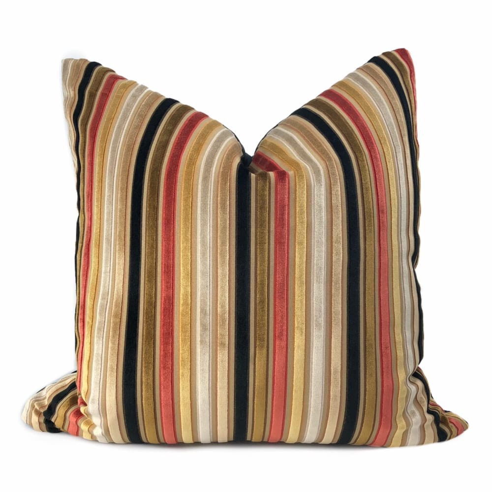 Robert Allen Cut Velvet Stripe Gold Brown Tan Red Black Pillow Cover - Aloriam